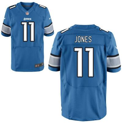 Men's Detroit Lions #11 Marvin Jones Light Blue Team Color NFL Nike Elite Jersey