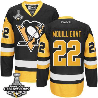 Youth Pittsburgh Penguins #22 Kael Mouillierat Black With Gold Jersey With 2016 Stanley Cup Champions Patch