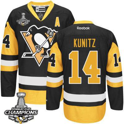 Youth Pittsburgh Penguins #14 Chris Kunitz Black With Gold A Patch Jersey With 2016 Stanley Cup Champions Patch