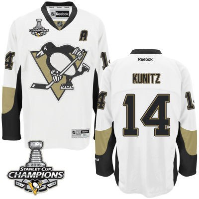 Youth Pittsburgh Penguins #14 Chris Kunitz White Away A Patch Jersey With 2016 Stanley Cup Champions Patch