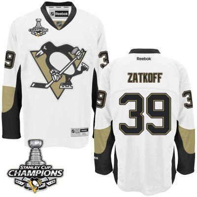 Youth Pittsburgh Penguins #39 Jean-Sebastien Dea White Away Jersey With 2016 Stanley Cup Champions Patch