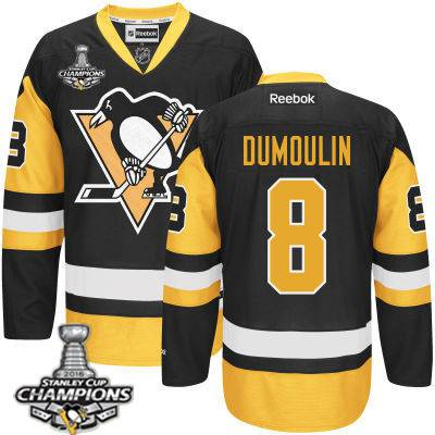 Youth Pittsburgh Penguins #8 Brian Dumoulin Black With Gold Jersey With 2016 Stanley Cup Champions Patch