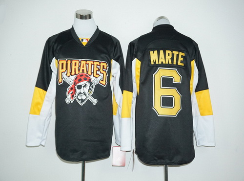 Pittsburgh Pirates #6 Starling Marte Black Long Sleeve Baseball Jersey