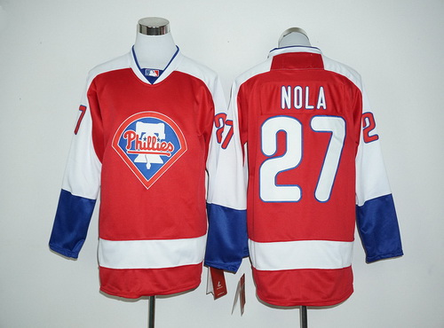 Philadelphia Phillies #27 Aaron Nola Red Long Sleeve Baseball Jersey