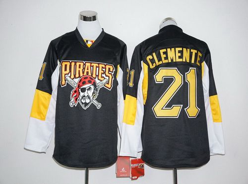 Pittsburgh Pirates #21 Roberto Clemente Retired Black Long Sleeve Baseball Jersey