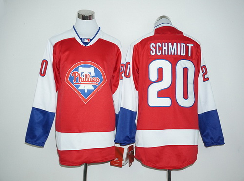 Philadelphia Phillies #20 Mike Schmidt Retired Red Long Sleeve Baseball Jersey