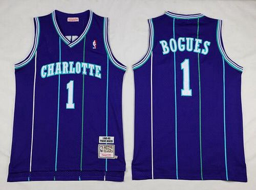 Men's Charlotte Hornets #1 Muggsy Bogues 1992-93 Purple Hardwood Classics Soul Swingman Throwback Jersey