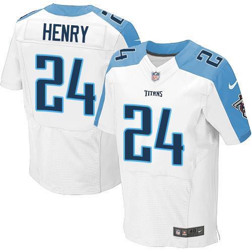 Nike Titans #24 Derrick Henry White Men's Stitched NFL Elite Jersey