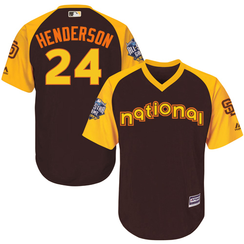 National League San Diego Padres #24  Rickey Henderson Brown 2016 MLB All-Star Jersey - Men's