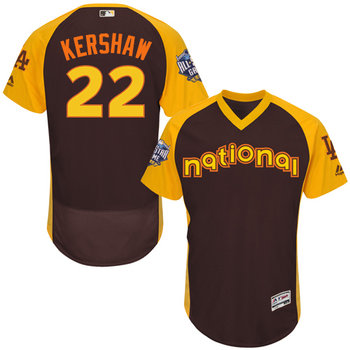 National League Los Angeles Dodgers #22 Clayton Kershaw Brown 2016 All-Star Jersey - Men's