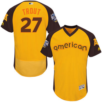 American League Los Angeles Angels of Anaheim #27 Mike Trout Gold 2016 All-Star Jersey - Men's
