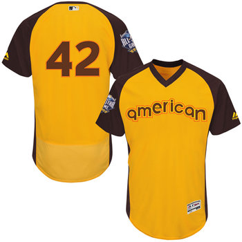 American League Los Angeles Dodgers #42 Jackie Robinson Gold 2016 All-Star Jersey - Men's