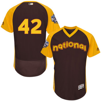 National League Los Angeles Dodgers #42 Jackie Robinson Brown 2016 All-Star Jersey - Men's