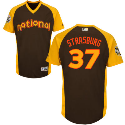 National League Washington Nationals #37 Stephen Strasburg Brown 2016 MLB All-Star jersey