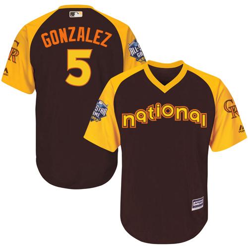 National League Colorado Rockies #5 Carlos Gonzalez Brown 2016 MLB All-Star Jersey - Men's