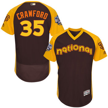 National League San Francisco Giants #35 Brandon Crawford Brown 2016 All-Star Jersey - Men's