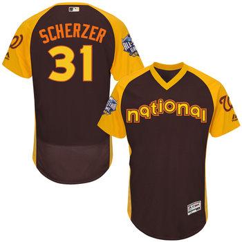 National League Washington Nationals #31 Max Scherzer Brown 2016 All-Star Jersey - Men's