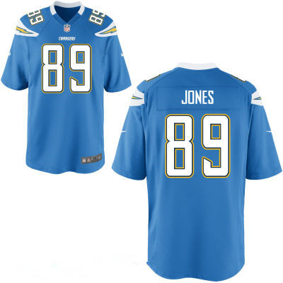 San Diego Chargers #89 James Jone Light Blue Alternate Men's  Stitched NFL Nike Elite Jersey