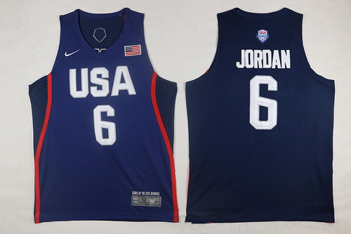 2016 Olympics Team USA Men's #6 DeAndre Jordan Navy Blue Stitched NBA Jersey