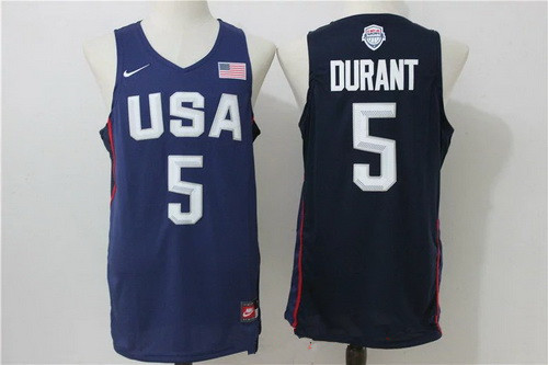 2016 Olympics Team USA Men's #5 Kevin Durant Navy Blue Revolution 30 NBA Jersey