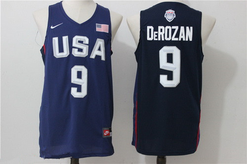 2016 Olympics Team USA Men's #9 DeMar DeRozan Navy Blue Stitched NBA Jersey