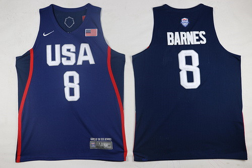 2016 Olympics Team USA Men's #8 Harrison Barnes Navy Blue Stitched NBA Jersey