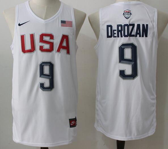 2016 Olympics Team USA Men's #9 DeMar DeRozan White Stitched NBA Nike Jersey