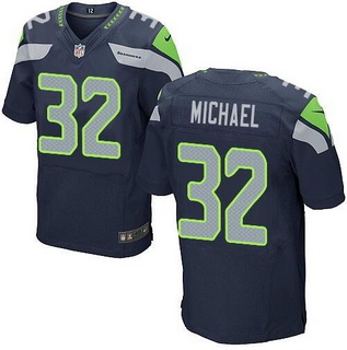 Seattle Seahawks #32 Christine Michael Navy Blue Team Color NFL Nike Stitched Elite Jersey