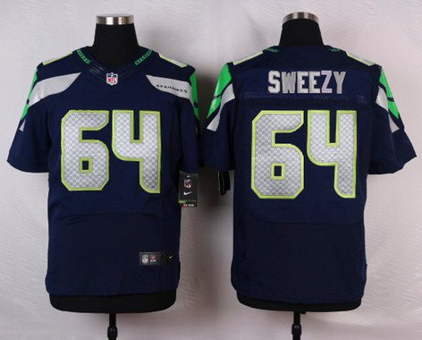 Seattle Seahawks #64 J. R. Sweezy Navy Blue Team Color NFL Nike Stitched Elite Jersey