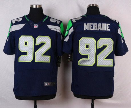 Seattle Seahawks #92 Brandon Mebane Navy Blue Team Color NFL Nike Stitched Elite Jersey