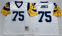 St. Louis Rams #75 Jones White Stitched Mitchell and Ness NFL Jersey