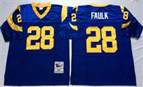 St. Louis Rams #28 Marshall Faulk Light Blue Stitched Mitchell and Ness NFL Jersey