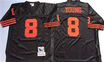 San Francisco 49ers #8 Steve Young Black Stitched Mitness and Ness NFL Jersey