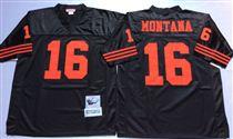 San Francisco 49ers #16 Joe Montana Black Stitched Mitness and Ness NFL Jersey