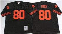 San Francisco 49ers #80 Jerry Rice Black Stitched Mitness and Ness NFL Jersey