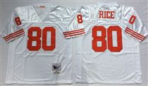 San Francisco 49ers #80 Jerry Rice White Stitched Mitness and Ness NFL Jersey