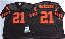 San Francisco 49ers #21 Deion Sanders Black Stitched Mitness and Ness NFL Jersey