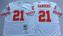 San Francisco 49ers #21 Deion Sanders White Stitched Mitness and Ness NFL Jersey