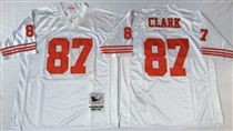 San Francisco 49ers #87 Dwight Clark White Stitched Mitness and Ness NFL Jersey