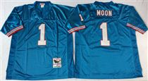 Tennessee Oliers #1 Warren Moon Stitched Blue Mitchell and Ness NFL Jersey