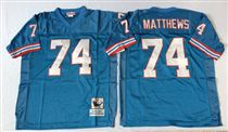 Tennessee Oliers #74 Bruce Matthews Stitched Blue Mitchell and Ness NFL Jersey