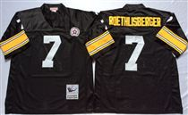 Pittsburgh Steelers #7 Ben Roethlisberger Black Stitched Mitchell and Ness NFL Jersey