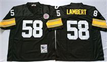 Pittsburgh Steelers #58 Jack Lambert Black Stitched Mitchell and Ness NFL Jersey
