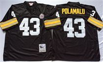 Pittsburgh Steelers #43 Troy Polamalu Black Stitched Mitchell and Ness NFL Jersey