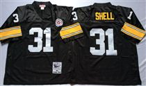 Pittsburgh Steelers #31 Donnie Shell Black Stitched Mitchell and Ness NFL Jersey