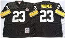 Pittsburgh Steelers #23 Mike Wagner Black Stitched Mitchell and Ness NFL Jersey