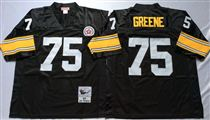 Pittsburgh Steelers #75 Joe Greene Black Stitched Mitchell and Ness NFL Jersey