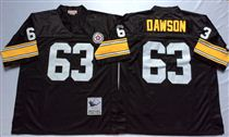 Pittsburgh Steelers #63 Dermontti Dawson Black Stitched Mitchell and Ness NFL Jersey