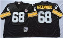 Pittsburgh Steelers #68 L.C. Greenwood Black Stitched Mitchell and Ness NFL Jersey