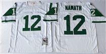 New York Jets #12 Joe Namath White Stitched Mitchell and Ness NFL Jersey
